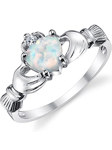 Sterling Silver 925 Irish Claddagh Friendship & Love Ring with Simulated Opal Heart 8