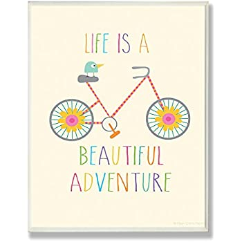 Stupell Home Décor Life Is A Beautiful Adventure Bird On A Bike Rectangle Wall Plaque, 11 x 0.5 x 15, Proudly Made in USA