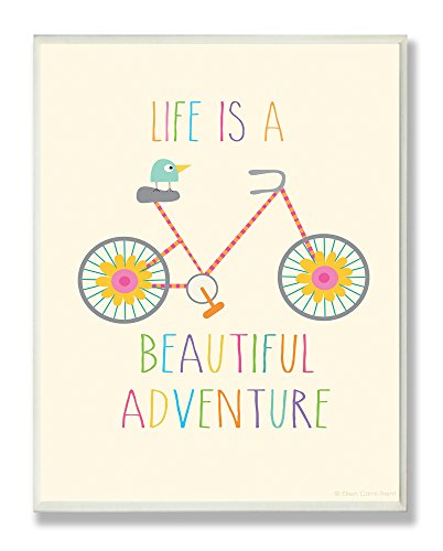 The Kids Room by Stupell Life Is A Beautiful Adventure Bird On A Bike Rectangle Wall Plaque, 11 x 0.5 x 15, Proudly Made in USA