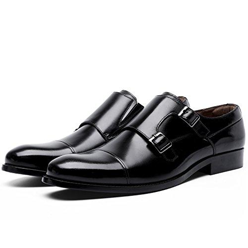 Doble Hebilla Monje Negro Hombre De Para Estilo Zapatos Desai EXIxaFa