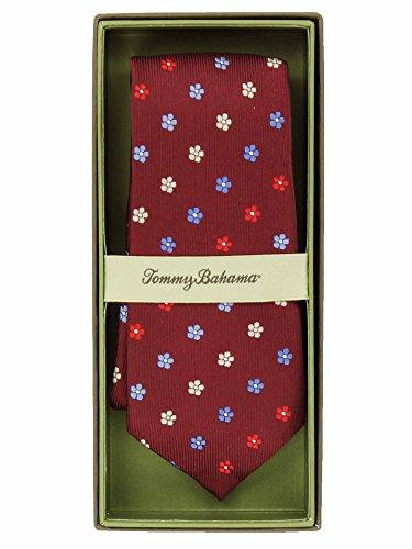 Tommy Bahama Mens Printed Silk Neck Tie (Maroon Flower Print)