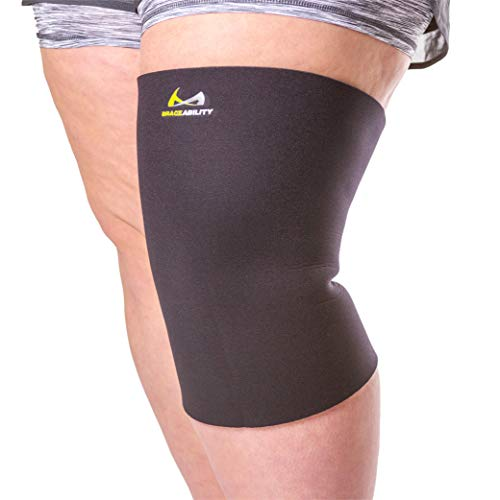 BraceAbility Plus Size Neoprene Knee Sleeve | XXXL Obesity Compression Support Brace for Bariatric Women & Men with Big Thighs & Arthritis Joint Pain (3XL Wide Calf)