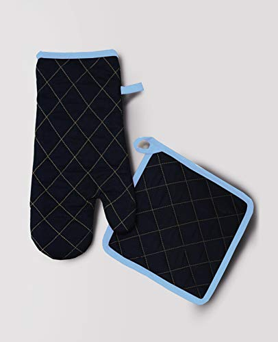 Milano Home Cotton Padded Oven Glove & Pot Holder Set – Blue Price & Reviews