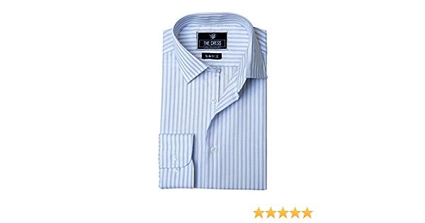 Camisa de Hombre de algodón Puro con Contraste de Rayas Blancas y Azules