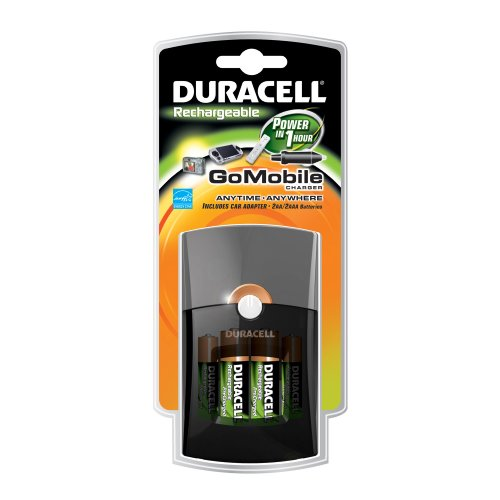 Duracell Go Mobile Charger / Rechargeable / includes car adaptor and  2 AA / 2 AAA precharged, rechargeable batteries, (Duracell Mobile Battery Charger)