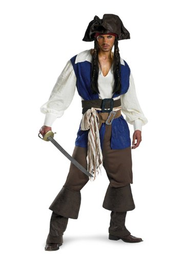 Disney Disguise Men's Pirates Of The Caribbean Captain Jack Sparrow Deluxe Costume, Brown/Blue White, XX-Large for $<!--$55.06-->
