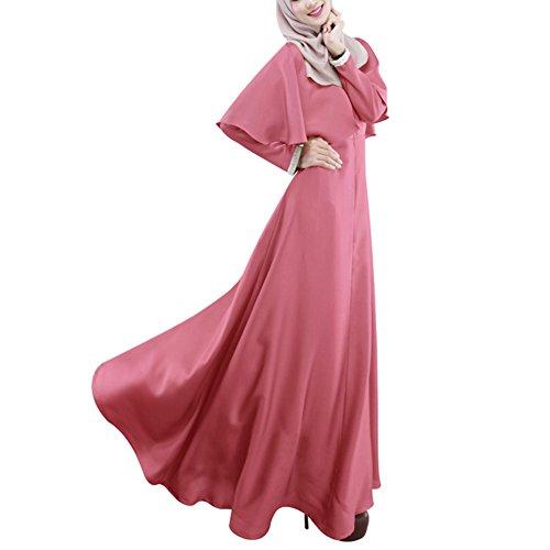 Highdas las mujeres musulmanes de manga larga bata capa de color sólido de gran tamaño del vestido maix abaya Rosa