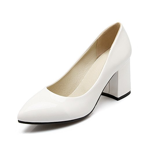 BalaMasa Ladies Chunky Heels Low-Cut Uppers Pointed-Toe White Urethane Pumps Shoes - 4 B(M) (4 Tuxedo Chairs)