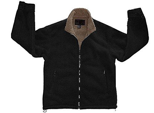 Woodland Supply Co. Men's Polar Fleece Sherpa Lined Zip Up Jacket,X-Large,Black/Taupe
