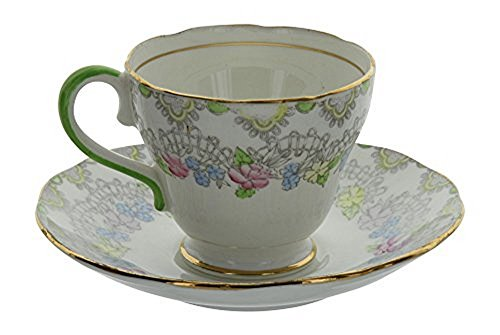 Vintage Salisbury England Bone China Pastel Floral Pattern Tea Cup and Saucer Set With Gold Trim & Green Handle (Saucer Footed Teacup)