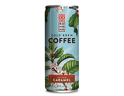 Kohana Cold Brew Ready to Drink Coffee, Salted Caramel Flavor, 8 ounces, Fair Trade Coffee, Iced Coffee, Energy Drink, Low-Acid Instant Coffee, Gluten Free, Vegan, Pack of 12