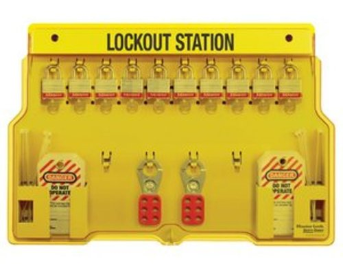 Master Lock Lockout Tagout Station, Group Lockout Station with Cover, 10 Lock Capacity, ()