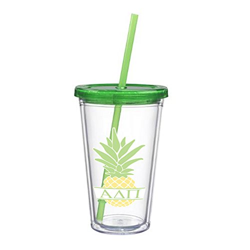 Alpha Delta Pi Letter Pineapple Sticker on plastic Tumbler Greek Sorority Decal 16 oz. BPA Free - Policy Store Return Coach