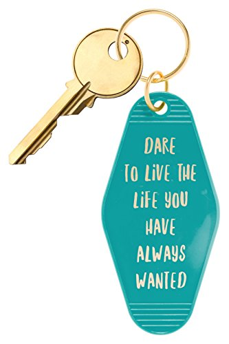 """(Bops Retro Motel/Hotel Style Keychain """"Dare To Love The Life You Have Always Wanted"""" Vintage Inspired Keychain + Inspirational Quote)"""