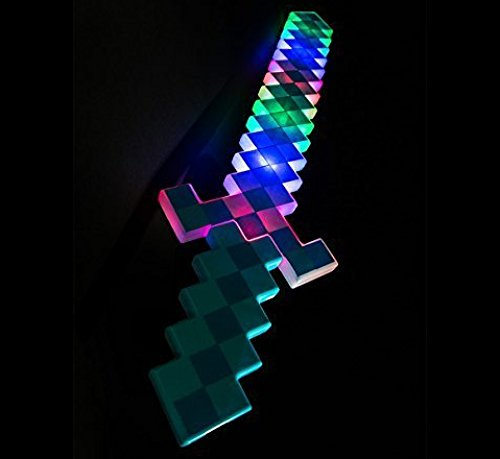 24 inches Mine Diamond Pixel Deluxe Toy Sword Craft Style with LED Light up and Sounds Effects (6 PACK) -