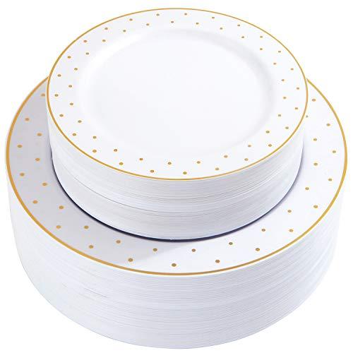Dots Dinnerware Set - 102 Pieces Gold Plastic Plates Sets, Premium Combo Disposable Dinnerware Set, Disposable Gold Dots Plates, Includes: 51 PCS Dinner Plates 10.25