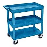 Luxor/H.Wilson Luxor HD High Capacity 2 Tub and 1 Flat Shelf Cart in Blue (EC112HD-BU)