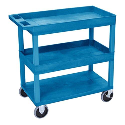 Luxor/H.Wilson Luxor HD High Capacity 2 Tub and 1 Flat Shelf Cart in Blue (EC112HD-BU) by Luxor