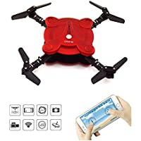 LHI Quadcopter Drone with FPV Camera and Live Video - Flexible Foldable Aerofoils - App and Wifi Phone Control UAV- Camera Altitude Hold Mode RC Quacopter RTF--Red