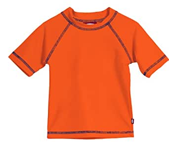 Little Boys' and Girls' Solid Rashguard Swimming Tee Shirt Rash Guard SPF Sun Protection for Summer Beach Pool and Play, S/S Orange, 2T