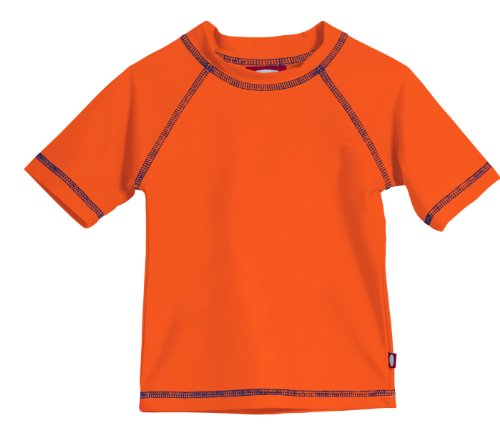- Little Boys' and Girls' Solid Rashguard Swimming Tee Shirt Rash Guard SPF Sun Protection for Summer Beach Pool and Play, S/S Orange, 6