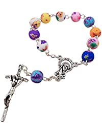 Catholic One Decade Rosary 8mm Round Colorful Polymer Beads Virgin Mary Centerpiece Jesus Cross Crucifix