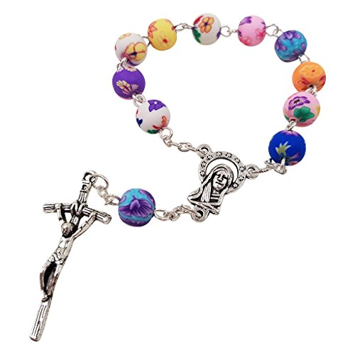 Catholic One Decade Rosary 8mm Round Colorful Polymer Beads Virgin Mary Centerpiece Jesus Cross (Approximately 8mm Round Beads)