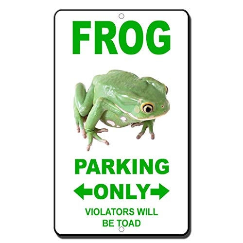 Joycenie New Metal Tin Sign Frog Parking Only Violators Will Be Towed Novelty Funny Great for Coffee Yard Home Indoor and Outdoor Warning Sign 8X12 ()