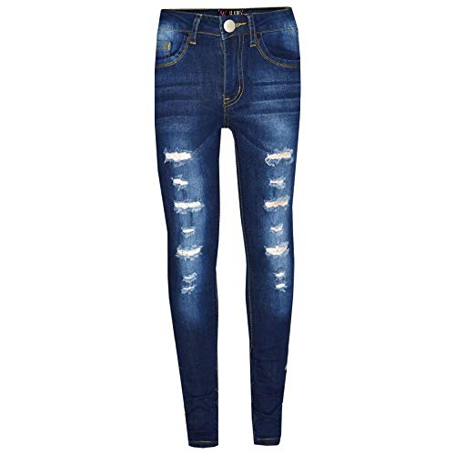 Kids Girls Skinny Jeans Denim Ripped Stretchy Pants Jeggings New Age 3-13 Years 1