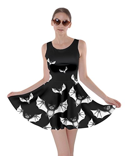 CowCow Womens Flying Bats Black Skater Dress, Black - 2XL ()