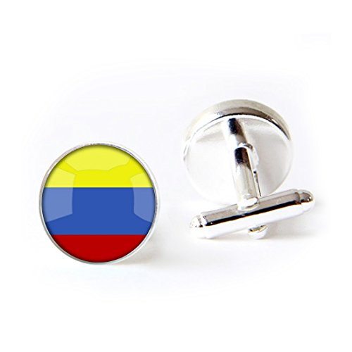 LEO BON Mens Classy Cufflinks The Republic of Colombia National Flag Deluxe Wedding Business Cuff Links Movement Shirts Studs Button from LEO BON