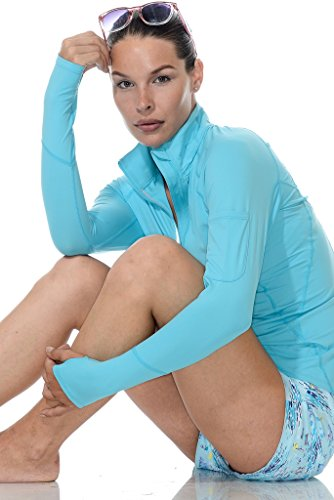 BloqUV Women's Mock Zip Hoodie, Caribbean Blue, X-Small by BloqUV (Image #1)
