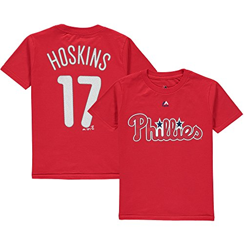 Rhys Hoskins Philadelphia Phillies Red Youth Name & Number Shirt Large 14/16 ()
