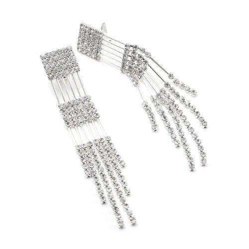 Silver Crystal Rhinestone Multiple String Line Strand Chandelier Dangle Clip Earrings - Rhinestone Chandelier Clip