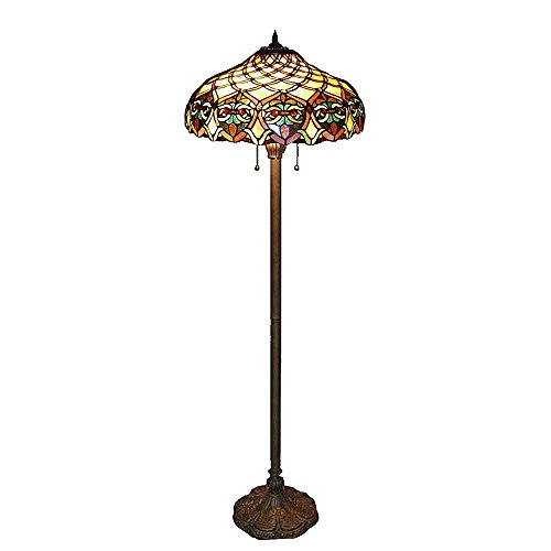 Baroque Tiffany Style Floor Lamp Handcrafted Stained Glass B