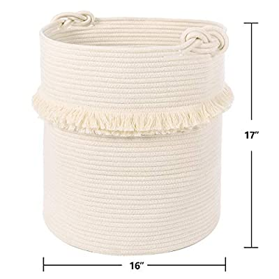 Woven Storage Baskets Cotton Rope Decorative Hamper for Nursery, Toys, Blankets, and Laundry, Cute Tassel Nursery Decor - Home Storage Container