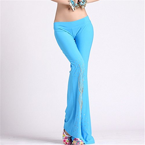 Womens Ladies Dance Pantalón Elastic Trousers Dancewear Dance Clothes Leggings Fishtail Pantalón Light Blue