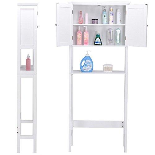 Wooden Storage Cabinet, Bathroom Over-the-Toilet Space Saver Double Door Linen Toiletry Storage Cabinet Tower Rack by GentleShower