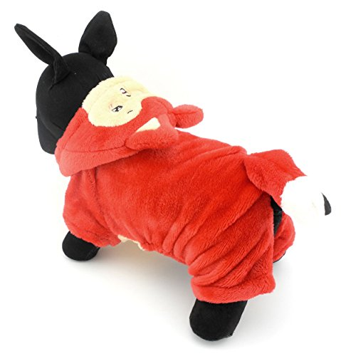 [ZUNEA Pet Apparel Small Dog Cat Clothes Winter Fleece Little Fox Halloween Costume Party Clothing Red S] (Costume Party Run Times)