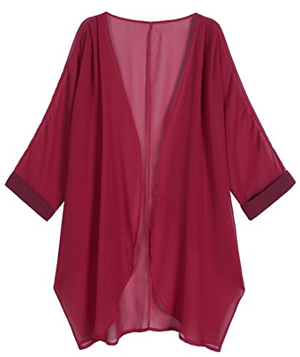 OLRAIN Women's Floral Print Sheer Chiffon Loose Kimono Cardigan Capes (Medium, Wine Red)