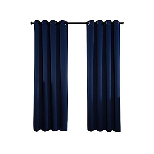 Qinuo Home Alaska Three Pass Microfiber Ready Made Thermal Insulated Solid Grommet Curtains Blackout...