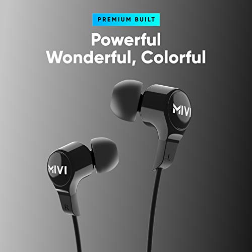 Mivi Collar 2B Wireless Earphones, Bluetooth Earphones with mic, Fast Charging, Powerful Bass, HD Sound and Made in India Neckband – Black
