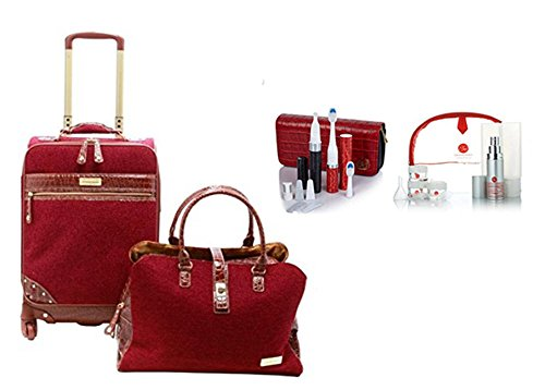 Samantha Brown Tweed 2-piece 21'' Spinner and Shoulder Bag Set BURGUNDY, Violife Slim Sonic Toothbrush, Slim Uno Manicure Travel Set & 9-piece Travel Essential Kit Bundle by Samantha Brown