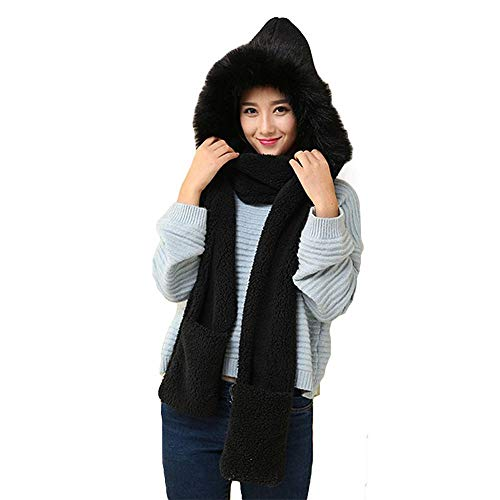 Pausseo Winter Women Hat Scarf Glove One-Piece Kit Outdoor Sports Casual Lady Girls Female Thicken Knitted Faux Fur Lovely Panda Shape Beanie Play Snow Warm Cashmere Soft Plush Pocket Set