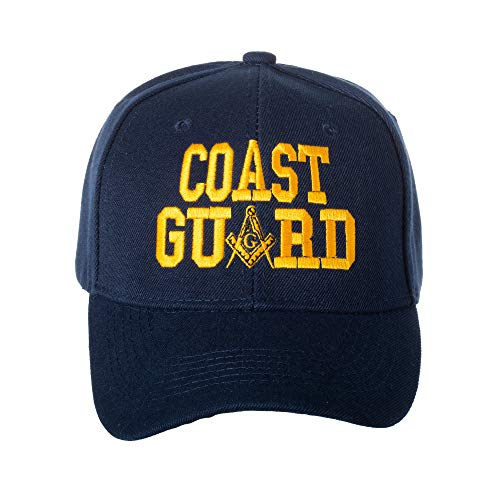 (United States Coast Guard Masonic Square and Compass Embroidered Navy Blue Baseball Cap)