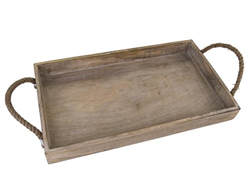 Dwellbee Rustic Wood Serving Tray with Rope Handles (Mango Wood)