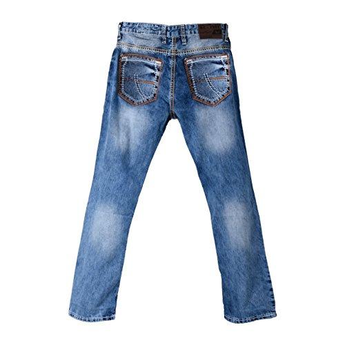 Herren Jeans im used Look mit orangenen XL-Nähten