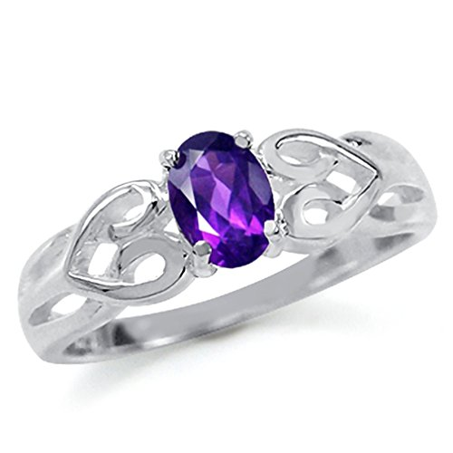 Natural African Amethyst Sterling Silver Celtic Heart Knot Ring SZ Size 7