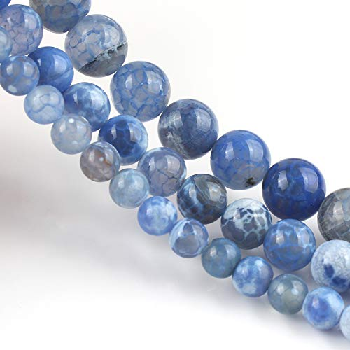 Yochus 10mm Blue Fire Dragon Agates Round Loose Beads Natural Stone Beads for Jewelry Making