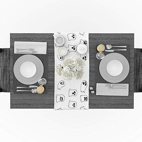 Cotton Linen Table Runner for Party, Cute Halloween Cartoon Ghost Runners Party Supplies Home Decorations for Kitchen Dining Room Wedding Birthday Decoration & Everyday Use, 18 x 72 inches ()